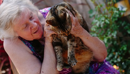 Image of a client holding a tabby cat